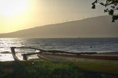 Maui canoe. A canoe at Kenolio Park at sunset on Maui Stock Photos