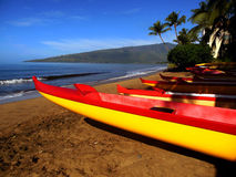 Maui Canoes. Yellow and red long canoes used for racing are lined-up on the beach of a rowing club in Maui. In the distance you can see wind turbines on the far Royalty Free Stock Image