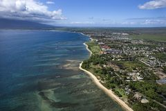 Maui coast with buildings. Royalty Free Stock Images