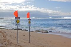 Maui Coast High Surf Warning Royalty Free Stock Image
