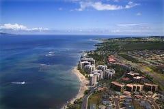 Maui coastline. Aerial view of buildings on coastline of Maui, Hawaii Stock Images