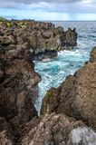 Maui. Coastline with blue skies and lava rocks Royalty Free Stock Photos