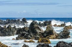 Maui. Coastline with blue skies and lava rocks Stock Photo