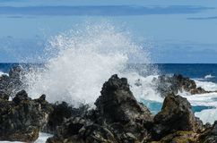 Maui. Coastline with blue skies and lava rocks Royalty Free Stock Image
