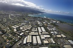 Maui coastline with buildings. Royalty Free Stock Photography