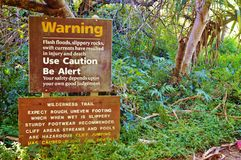 Maui haleakala state park caution signs Royalty Free Stock Image