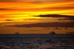 Maui Hawaii Beach Sunset with sailboat. Maui Hawaii Beach Sunset with ship Royalty Free Stock Photos