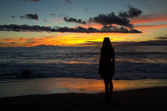 Maui Hawaii Beach Sunset with silhouette Stock Images