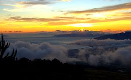 Maui Hawaii Sunset from mountain top Royalty Free Stock Photos