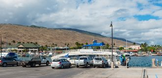 MAUI, HAWAII, USA-DECEMBER 13, 2014: boat of the pacific whale f. Oundation in maalaea harbor stock photos