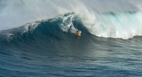 MAUI, HAWAII, USA - DECEMBER 15, 2013: Unknown surfer is riding Stock Image