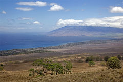 Maui, Hawaii. View from the Kula Highway looking towards Kihei and the West Maui Mountains royalty free stock photos
