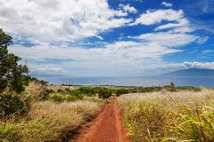 Maui hillside with dry grasses and dirt road Stock Photo