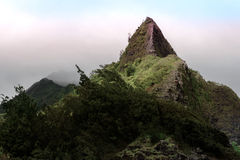 Pali Mountain Pinnacle. The Nuuanu Pali Lookout is a perennial favorite stop among visitors to Oahu. The Park lookout overlooks the 985-foot cliffs of the Koolau royalty free stock photography