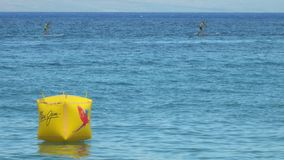 Maui Jim Ocean Shootout Contestants Paddling más allá de una boya inflable almacen de video
