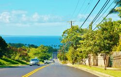 Maui kihei kilohana  drive oceanview. Most of the streets directions are nearby ocean or straight from the center to oceanview like this in Kihei area Royalty Free Stock Photography