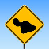 Maui map on road sign. Square poster with Maui island map on yellow rhomb road sign. Vector illustration royalty free illustration