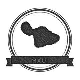 Maui map stamp. Retro distressed insignia. Hipster round badge with text banner. Island vector illustration Stock Photo