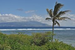 Maui from Molokai. View of Maui from Mile 20 on Hwy 450 on Molokai Royalty Free Stock Image