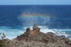 Maui Mushroom Rock Ocean Rainbow Stock Image