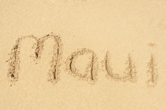 Maui. A picture of the word Maui drawn in the sand Royalty Free Stock Images