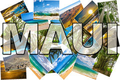 Maui pictures collage. Hawaii pictures collage of different famous locations landmark of Maui island in Hawaii, United States Stock Photos