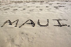 Maui in the Sand. The word maui written in the sand on a hawaiian beach Royalty Free Stock Photos