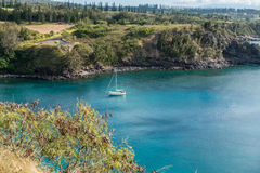 Maui Shoreline And Yacht 6 Royalty Free Stock Photos