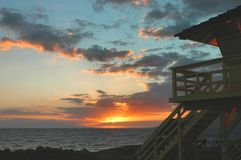 Maui Sunset. A Kihei Beach lifeguard tower at  sunset, captured in Maui in the Hawaiian Islands Royalty Free Stock Photography