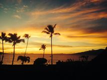 Maui Sunset. Sunset over Lahaina beach Maui Royalty Free Stock Photo