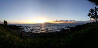 Maui sunset in Wailea. The sun setting on maui hawaii Stock Images