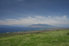 Maui Upcountry with Lanai. View of upcountry area of Maui Hawaii with west Maui mountains and the island of Lanai in background stock photo