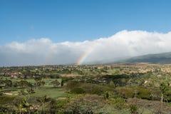 Maui vista with a double rainbow stock photos