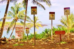 Maui waianapanapa state park caution signs Royalty Free Stock Photography