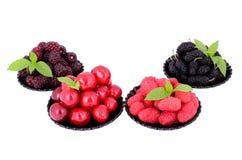 Maulbeere, Kirsche, Himbeere, Brombeere in einem plates_3 Stockbild