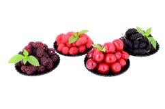 Maulbeere, Kirsche, Himbeere, Brombeere in einem Platten _2 Stockbilder