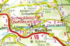 Maulbronn Monastery on map, Maulbronn, Baden-Württemberg royalty free stock photo