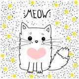Maullido del vector del gato, impresión de la camiseta, te quiero, día del ` s de la tarjeta del día de San Valentín, dibujo anim Fotos de archivo
