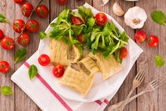 Maultaschen - swabian filled pasta  ravioli . Maultaschen - swabian filled pasta ravioli on white dish royalty free stock images