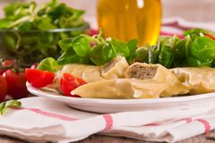 Maultaschen - swabian filled pasta  ravioli . royalty free stock photography