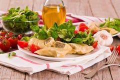 Maultaschen - swabian filled pasta  ravioli . stock image