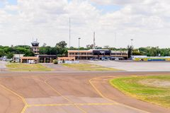 Little plane in Botswana. MAUN, BOTSWANA - JAN 11, 2016: Airport of Maun, Botswana. Maun is the fifth largest town in Botswana and the gateway to Okavango Delta Stock Photo