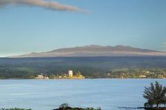 Mauna Kea. Early morning view from Hilo towards Mauna Kea on Big Island, Hawaii, USA Royalty Free Stock Photo