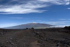 Mauna Kea från Mauna Loa. arkivfoton