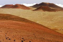 Mauna Kea Landscape. Landscape view of cinder cones in Mauna Kea, Hawaii stock photos