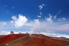 Mauna Kea Observatories on top of Mauna Kea mountain peak, Hawaii, USA Royalty Free Stock Photos