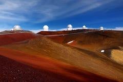 Mauna Kea Observatories on top of Mauna Kea mountain peak, Hawaii, USA Stock Photography