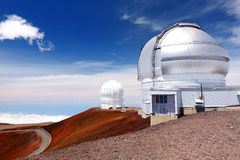 Mauna Kea Observatories on top of Mauna Kea mountain peak, Hawaii, USA Stock Images