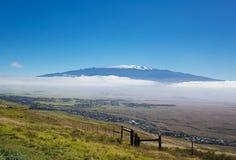 Mauna Kea and Snow capped Peaks. View of the Mauna Kea from the Kona coast, Hawaii Royalty Free Stock Image