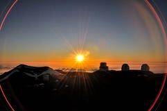 Mauna Kea. Sunset on Mauna Kea Hawaii Island with observatories as background Royalty Free Stock Images